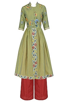 Sage Green Pleated Kurta and Pants Set
