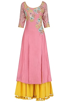 Rose Pink A-Line Kurta and Sharara Set