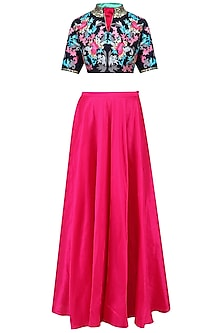 Navy Blue Blouse and Pink Skirt Set