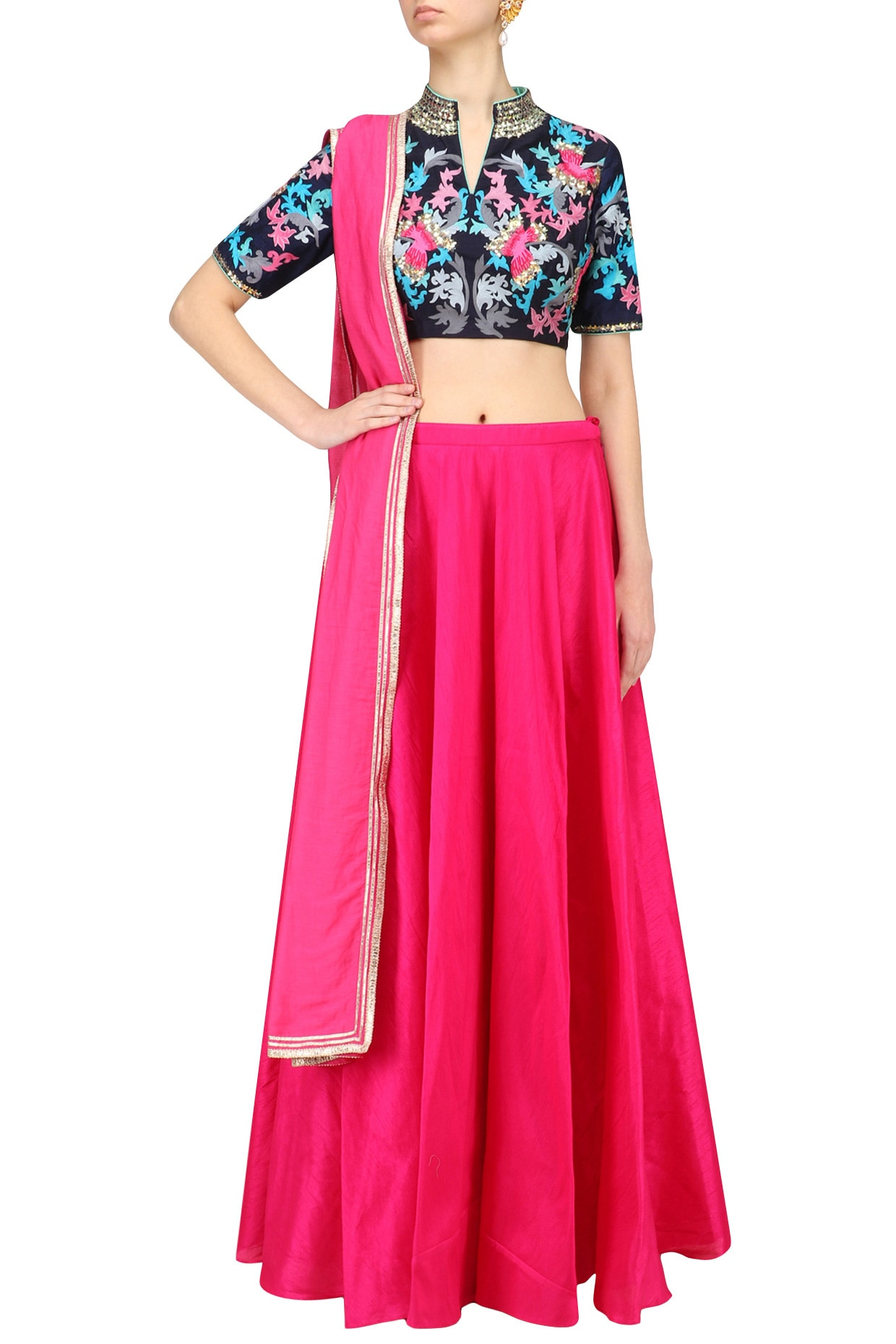 7742c93b353c Navy blue blouse and pink skirt set available only at Pernia's Pop ...