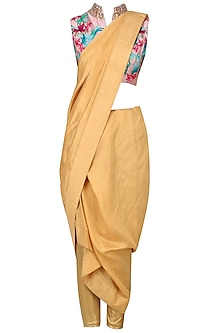 Icy Pink Blouse with Draped Saree