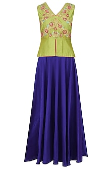 Lime Green Peplum Top and Skirt Set by Breathe By Aakanksha Singh