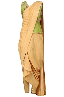 Lime Green Peplum Top and Draped Saree