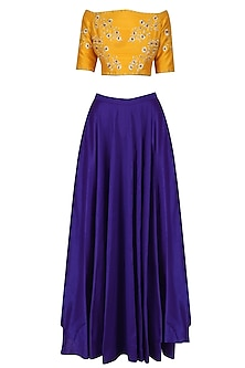 Yellow Off Shoulder Blouse and Skirt Set