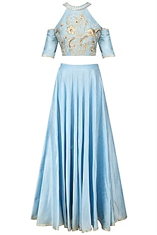 Aqua Blue Cold Shoulder Blouse and Skirt Set