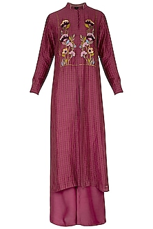 Maroon embroidered kurta with pants