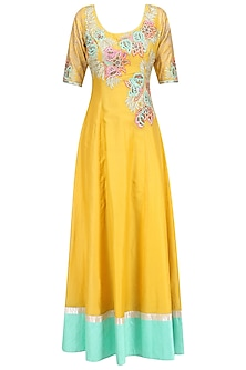 Yellow Floral Embroidered Anarkali Kurta Set by Breathe By Aakanksha Singh