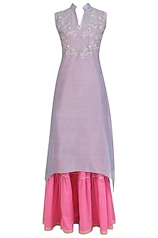 Lilac and Pink Floral Embroidered Kurta and Sharara Sets