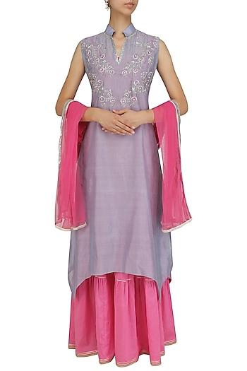 Lilac and Pink Floral Embroidered Kurta and Sharara Sets by Breathe By Aakanksha Singh
