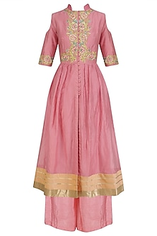 Old Rose Pink Floral Work Kurta and Palazzo Pants
