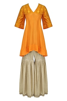 Orange Floral Embroidered Short Kurta with Beige Sharara Pants by Breathe By Aakanksha Singh