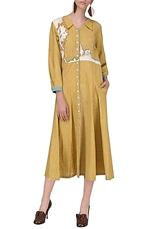 Mustard Front Open Collar Dress by Breathe By Aakanksha Singh