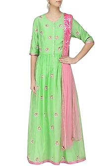 Mint and Pink Floral Embroidered Kalidaar Set by Breathe By Aakanksha Singh