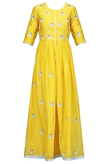 Yellow and Blue Embroidered Kurta Set