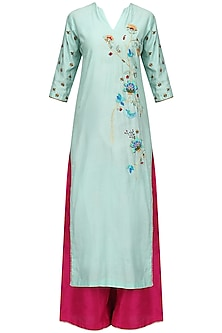 Powder Blue Floral Kurta and Pink Palazzo Set