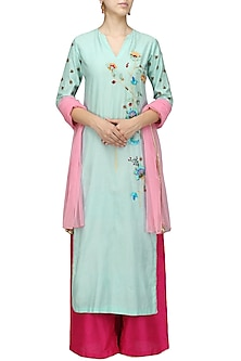 Blue Floral Pink Palazzo