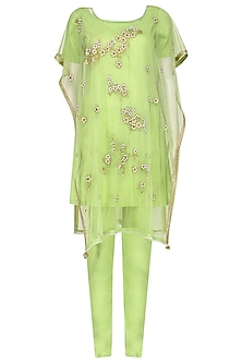 Lime Green Embroidered Kaftan Style Kurta Set