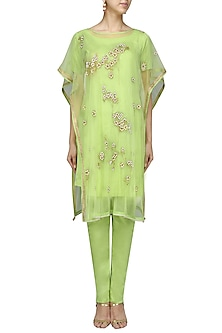 Green Embroidered Style Kurta