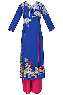 Cobalt Blue Floral Embroidered Kalidaar