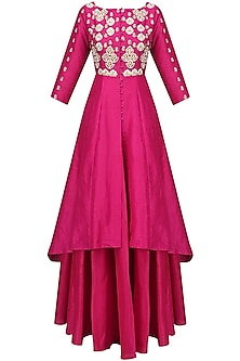 Fuschia Embroidered Kalidaar and Skirt Set