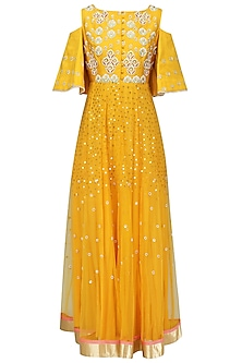 Yellow Embroidered Cold Shoulder Gown