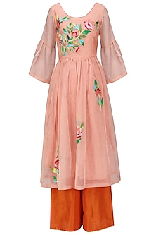 Peach Floral Embroidered Kurta and Orange Palazzo Set
