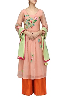 Peach Floral Embroidered Kurta and Orange Palazzo Set by Breathe By Aakanksha Singh