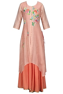 Peach and Coral Floral Embroidered Asymmetric Kurta and Jumpsuit Set