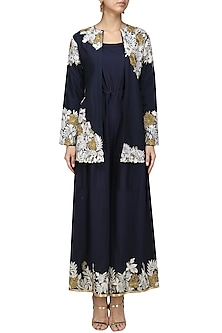 Navy Embroidered Jumpsuit and Jacket Set by Breathe By Aakanksha Singh