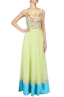 Lime Green Floral Embroidered Anarkali by Breathe By Aakanksha Singh