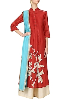 Red Floral Print Kurta and Beige Palazzo Set by Breathe By Aakanksha Singh
