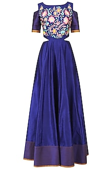 Blue Cold Shoulder Embroidered Gown by Breathe By Aakanksha Singh