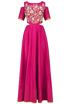 Pink Cold Shoulder Anarkali Gown and Dupatta Set by Breathe By Aakanksha Singh
