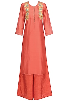 Peach Floral Embroidered Straight Kurta and Palazzo Pants Set by Breathe By Aakanksha Singh