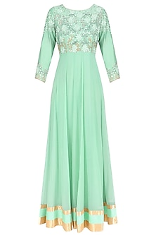 Mint Green Floral Embroidered Anarkali with Hot Pink Dupatta by Breathe By Aakanksha Singh
