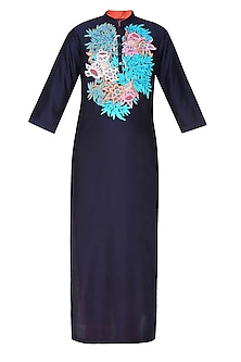 Navy Blue Floral Embroidered Straight Kurta Set by Breathe By Aakanksha Singh