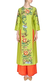 Lime Green Floral Thread and Zari Embroidered Chanderi Kurta and Orange Pants Set by Breathe By Aakanksha Singh
