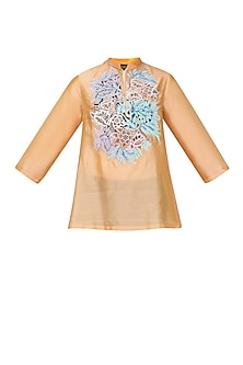 Peach Floral Embroidered Tunic
