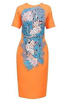 Tangerine Floral Embroidered Midi Dress