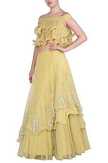 Iris Yellow Embroidered Ruffle Top with Lehenga Skirt by Babita Malkani