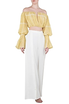 Iris Yellow Textured Crop Top with Thigh High Slit Pants by Babita Malkani