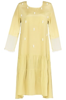 Iris Yellow Knee Length Dress by Babita Malkani