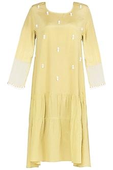 Iris Yellow Knee Length Dress by Babita Malkani