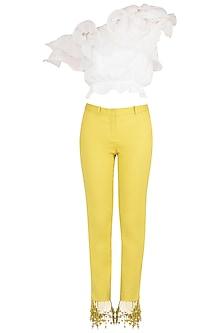 White Ruffled Crop Top with Iris Yellow Tasseled Pants