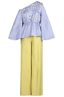 Periwinkle One Shoulder Embellished Top with Cross Pleated Pants by Babita Malkani
