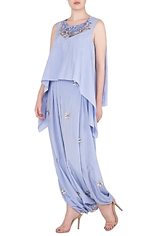 Periwinkle Double Layer Top with Cowl Dhoti Pants by Babita Malkani