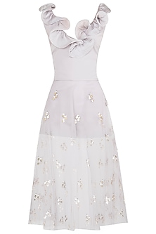 Grey Ruffled Playsuit with An Embroidered Skirt by Babita Malkani