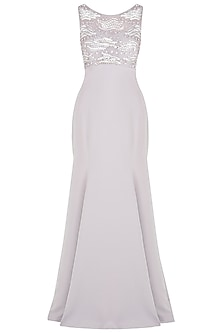 Lilac Fishtail Embroidered Gown