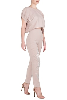 Beige Ruffle Crop Top with White Sequins Embellished Straight Pants by Babita Malkani