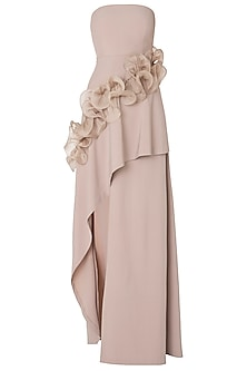 Beige High-Low Tube Ruffled Gown